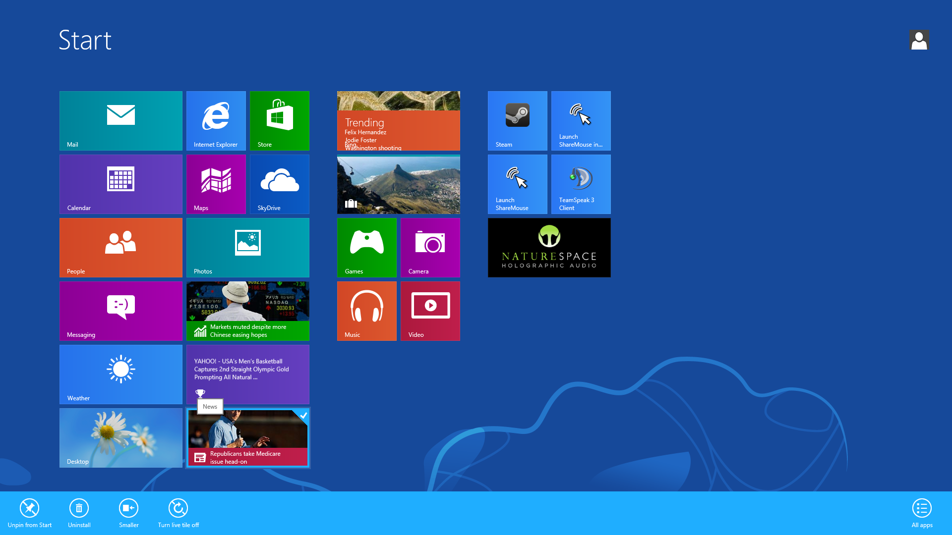 Windows 8 Pro 8.1 Desktop Kacheln